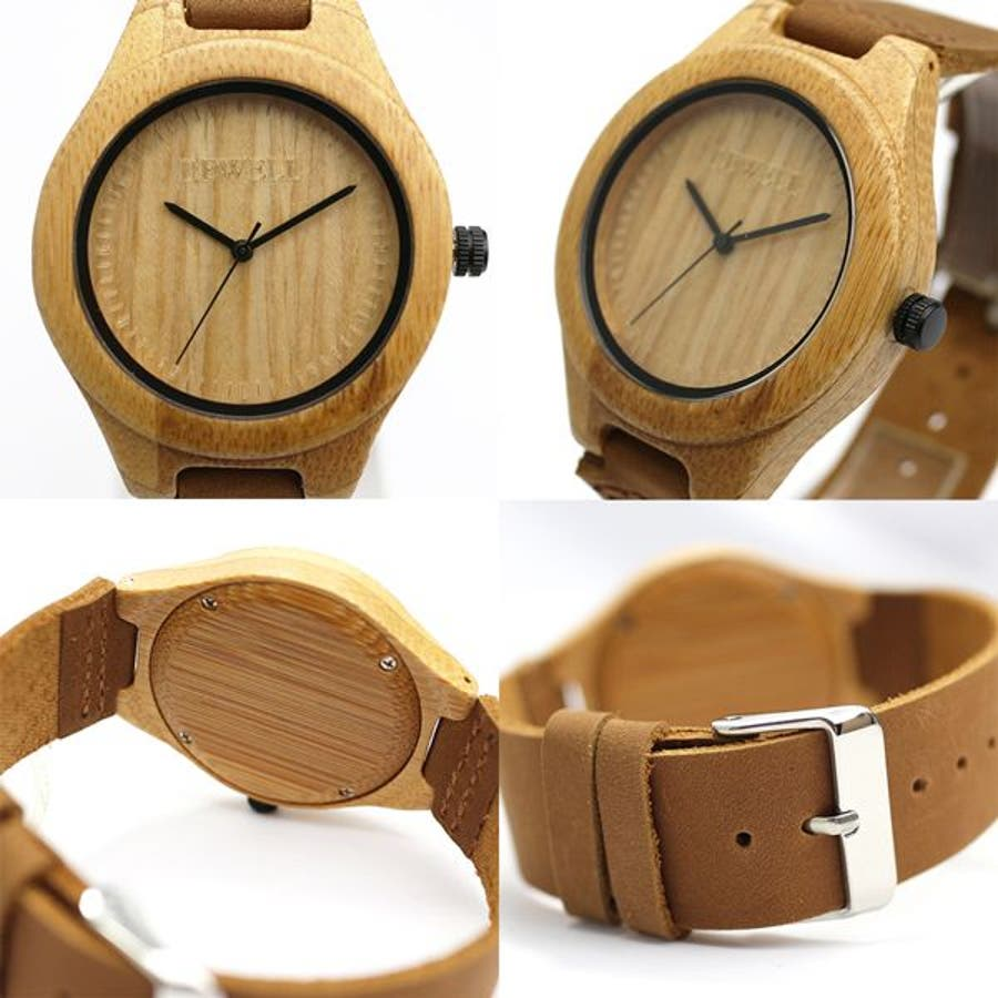 竹製 竹製時計 木製腕時計 軽い 軽量 セイコーインスツル ムーブメント 安心の天然素材 ナチュラルウッドウォッチ 自然木天然木WDW032-01 ユニセックス メンズ腕時計 2