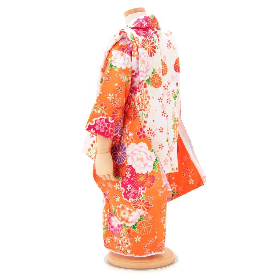 三歳被布着物セット 白 ホワイト 橙色 オレンジ 牡丹 桜 菊 胡蝶蘭 (被布コート・着物・長襦袢・伊達衿・草履・髪飾り・巾着) 3才 子供 キッズ 女の子 女児 七五三 3