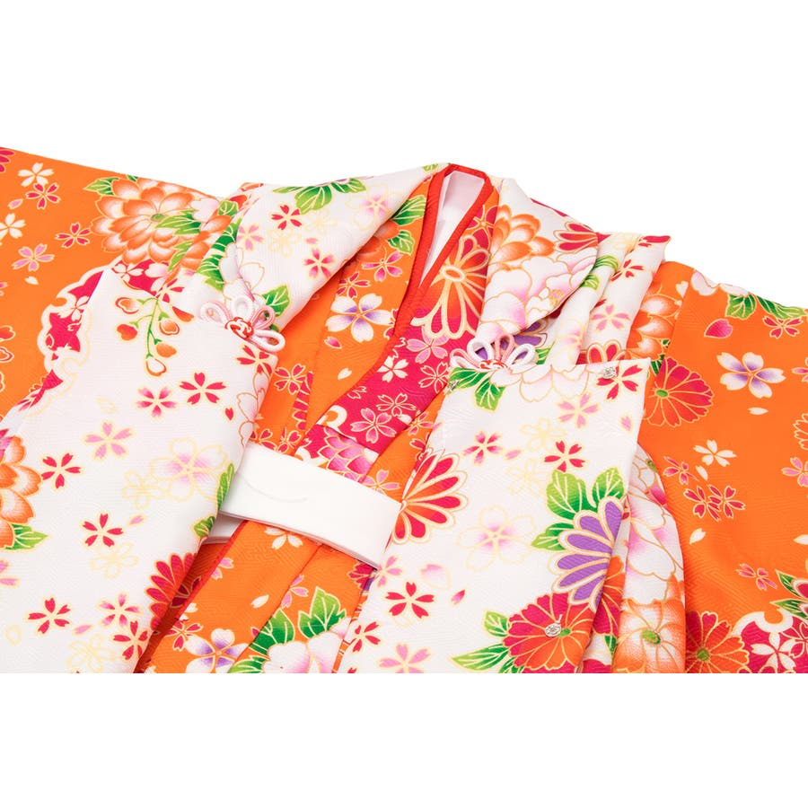 三歳被布着物セット 白 ホワイト 橙色 オレンジ 牡丹 桜 菊 胡蝶蘭 (被布コート・着物・長襦袢・伊達衿・草履・髪飾り・巾着) 3才 子供 キッズ 女の子 女児 七五三 4
