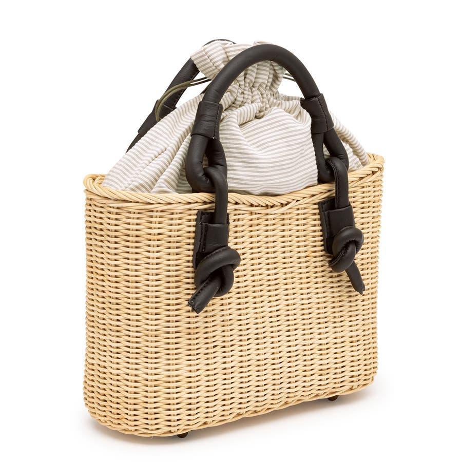 巾着 かごバッグ 浴衣 着物 和装 サマーバッグ レディース 籠 籐 夏 ナチュラル ベージュ グレー 灰色 ストライプ 和洋兼用 2
