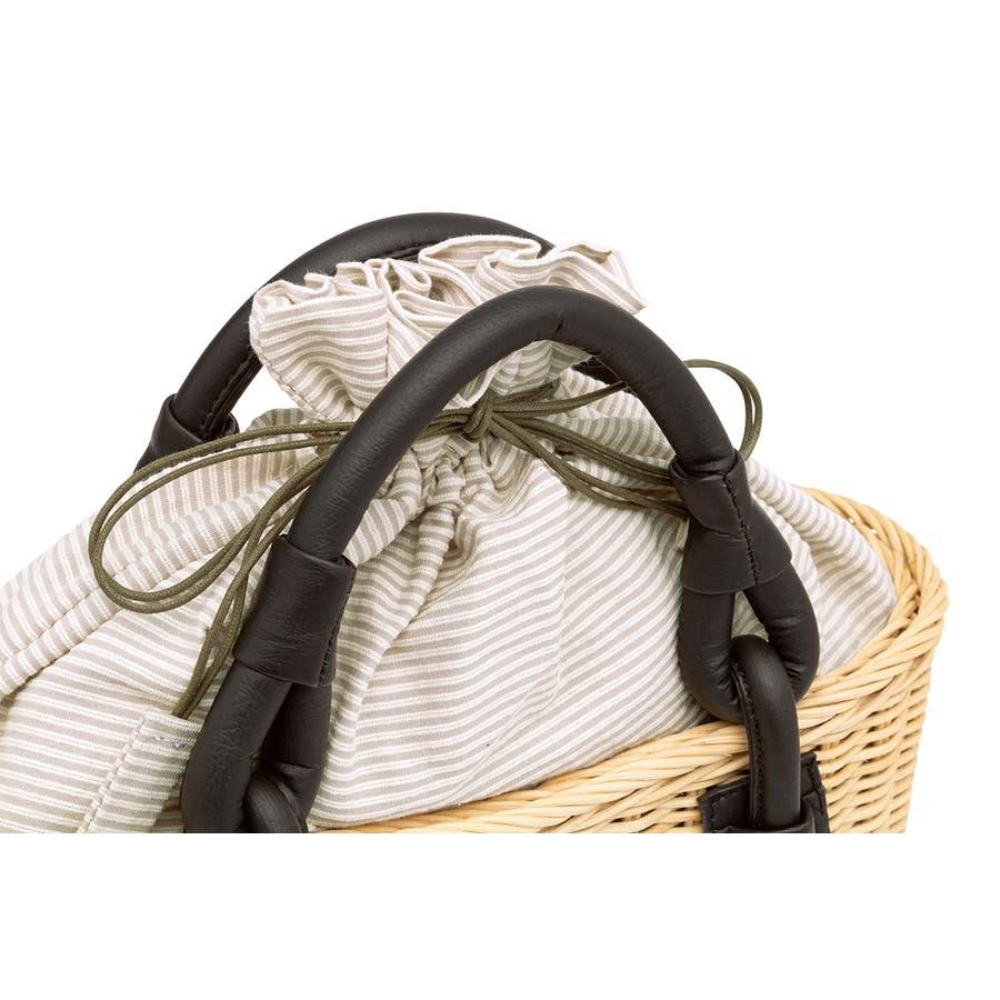 巾着 かごバッグ 浴衣 着物 和装 サマーバッグ レディース 籠 籐 夏 ナチュラル ベージュ グレー 灰色 ストライプ 和洋兼用 3