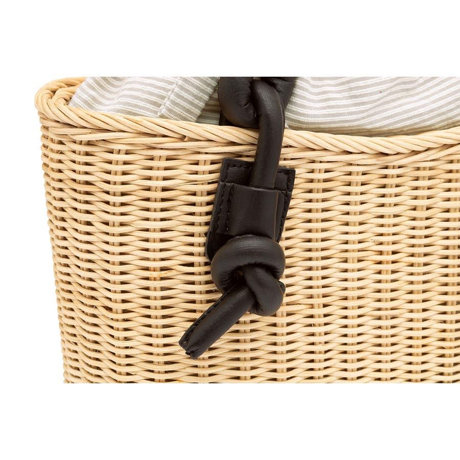 巾着 かごバッグ 浴衣 着物 和装 サマーバッグ レディース 籠 籐 夏 ナチュラル ベージュ グレー 灰色 ストライプ 和洋兼用 5
