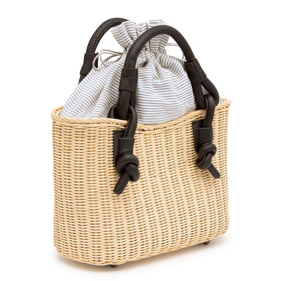 巾着 かごバッグ 浴衣 着物 和装 サマーバッグ レディース 籠 籐 夏 ナチュラル ベージュ ブルー 青 ストライプ 和洋兼用 2