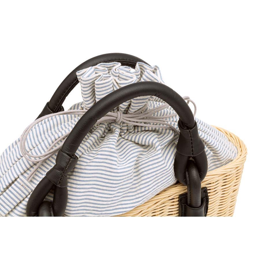 巾着 かごバッグ 浴衣 着物 和装 サマーバッグ レディース 籠 籐 夏 ナチュラル ベージュ ブルー 青 ストライプ 和洋兼用 3