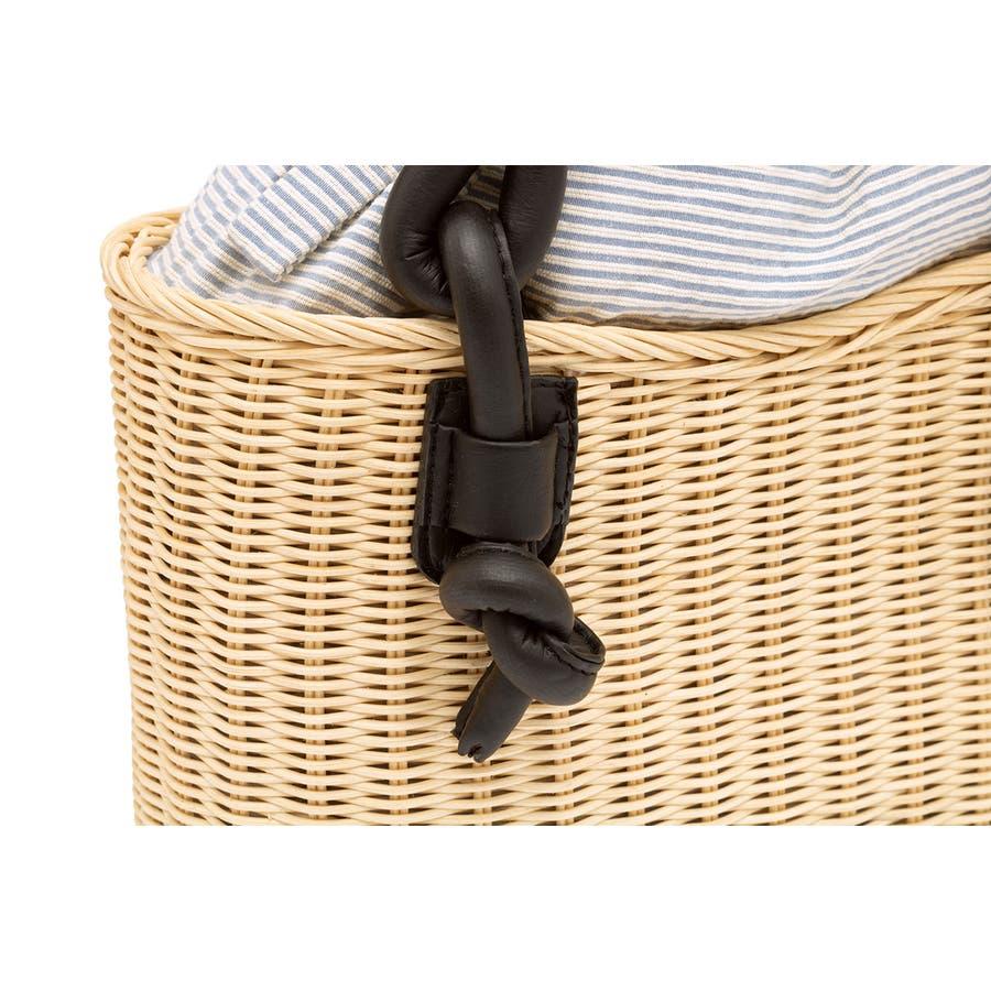 巾着 かごバッグ 浴衣 着物 和装 サマーバッグ レディース 籠 籐 夏 ナチュラル ベージュ ブルー 青 ストライプ 和洋兼用 5