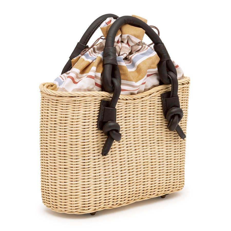 巾着 かごバッグ 浴衣 着物 和装 サマーバッグ レディース 籠 籐 夏 ナチュラル ベージュ系 茶 青 ストライプ 和洋兼用 2