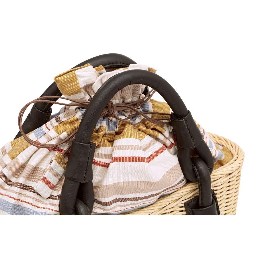 巾着 かごバッグ 浴衣 着物 和装 サマーバッグ レディース 籠 籐 夏 ナチュラル ベージュ系 茶 青 ストライプ 和洋兼用 3