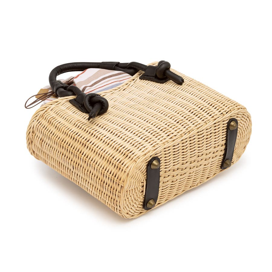 巾着 かごバッグ 浴衣 着物 和装 サマーバッグ レディース 籠 籐 夏 ナチュラル ベージュ系 茶 青 ストライプ 和洋兼用 4