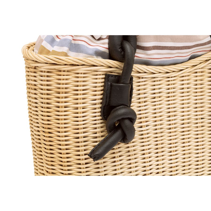 巾着 かごバッグ 浴衣 着物 和装 サマーバッグ レディース 籠 籐 夏 ナチュラル ベージュ系 茶 青 ストライプ 和洋兼用 5