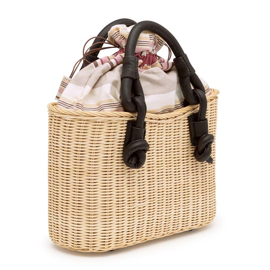 巾着 かごバッグ 浴衣 着物 和装 サマーバッグ レディース 籠 籐 夏 ナチュラル ピンク系 ベージュ グレー ストライプ 和洋兼用 2