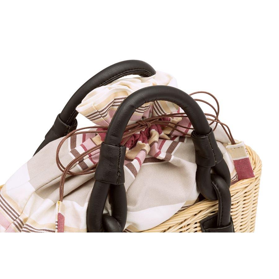 巾着 かごバッグ 浴衣 着物 和装 サマーバッグ レディース 籠 籐 夏 ナチュラル ピンク系 ベージュ グレー ストライプ 和洋兼用 3