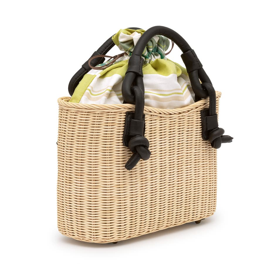 巾着 かごバッグ 浴衣 着物 和装 サマーバッグ レディース 籠 籐 夏 ナチュラル ベージュ 黄緑 ライトグリーン ストライプ和洋兼用 2