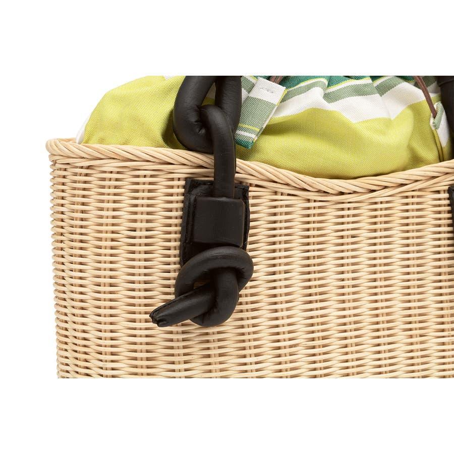 巾着 かごバッグ 浴衣 着物 和装 サマーバッグ レディース 籠 籐 夏 ナチュラル ベージュ 黄緑 ライトグリーン ストライプ和洋兼用 3