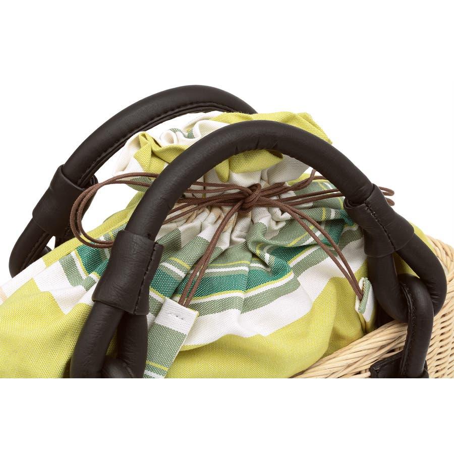巾着 かごバッグ 浴衣 着物 和装 サマーバッグ レディース 籠 籐 夏 ナチュラル ベージュ 黄緑 ライトグリーン ストライプ和洋兼用 4