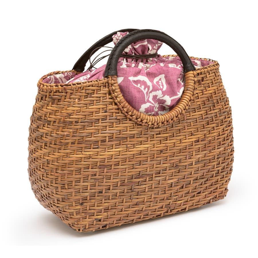 かごバッグ 巾着 浴衣 着物 和装 サマーバッグ レディース 籠 籐 夏 ナチュラル ブラウン 茶 ピンク系 花 花唐草 和洋兼用 2