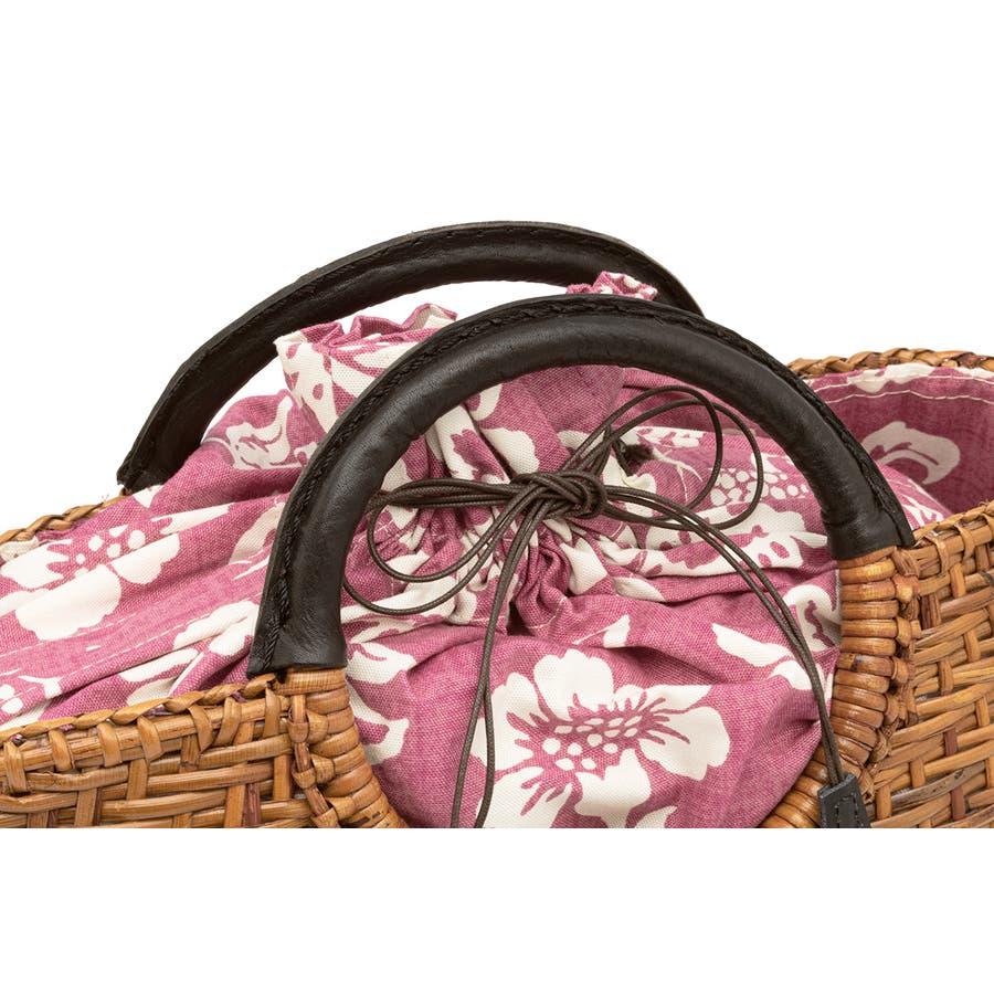 かごバッグ 巾着 浴衣 着物 和装 サマーバッグ レディース 籠 籐 夏 ナチュラル ブラウン 茶 ピンク系 花 花唐草 和洋兼用 4