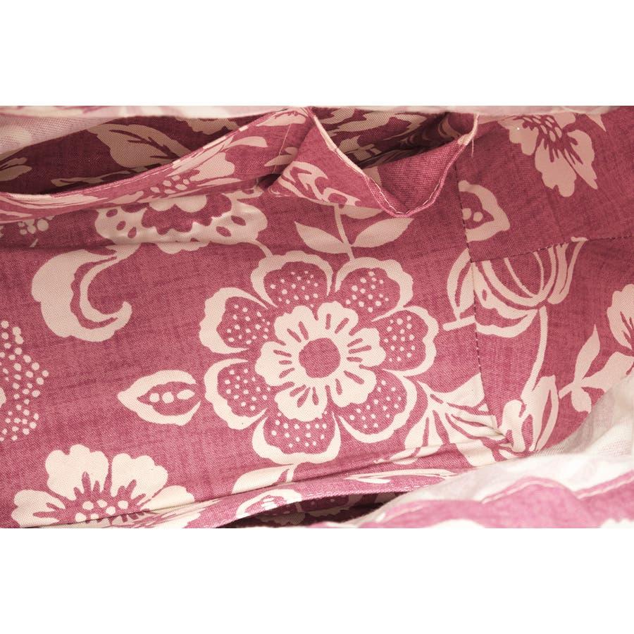 かごバッグ 巾着 浴衣 着物 和装 サマーバッグ レディース 籠 籐 夏 ナチュラル ブラウン 茶 ピンク系 花 花唐草 和洋兼用 5