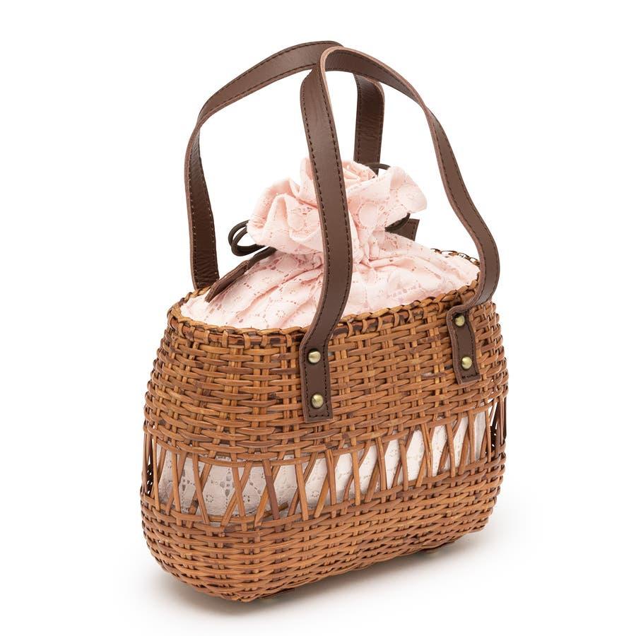 かごバッグ 巾着 バッグ 浴衣 着物 和装 サマーバッグ レディース ラタン 籠 籐 夏 ナチュラル ピンク ブラウン 茶 レース麻混紡 和洋兼用 2