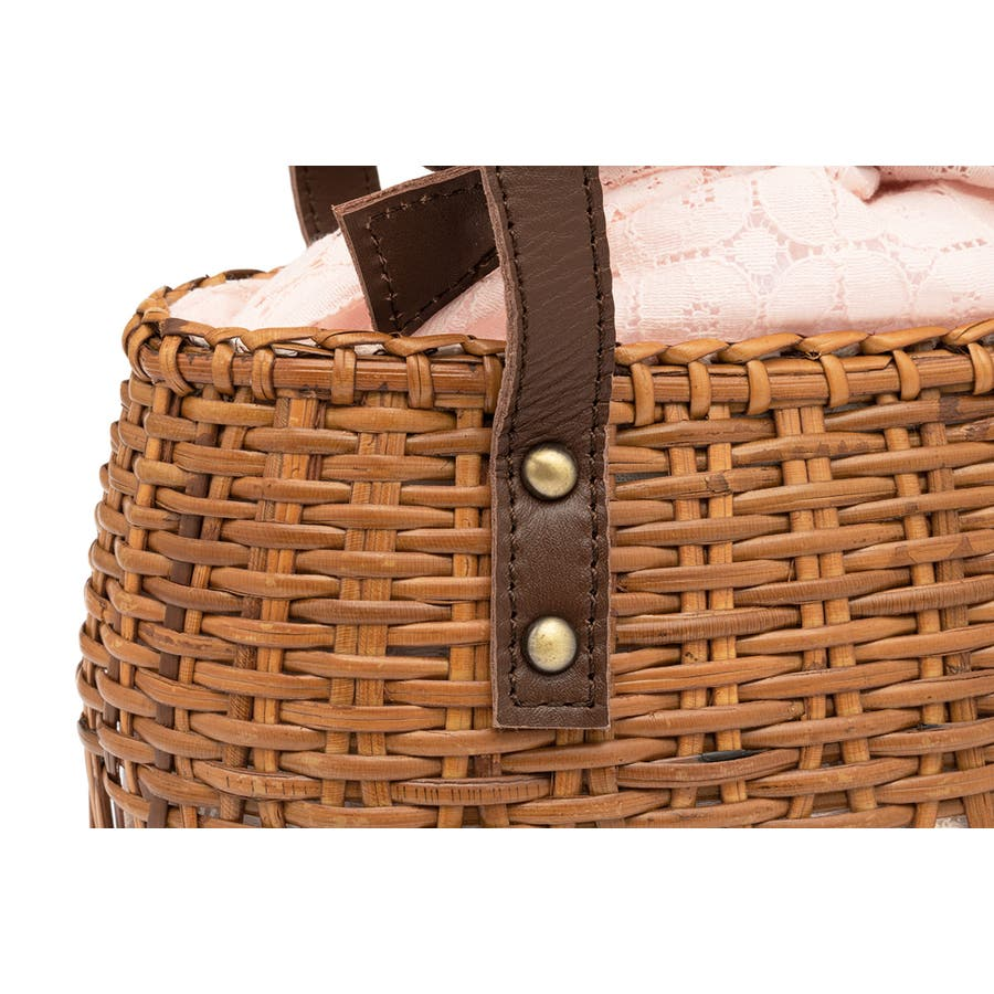 かごバッグ 巾着 バッグ 浴衣 着物 和装 サマーバッグ レディース ラタン 籠 籐 夏 ナチュラル ピンク ブラウン 茶 レース麻混紡 和洋兼用 3