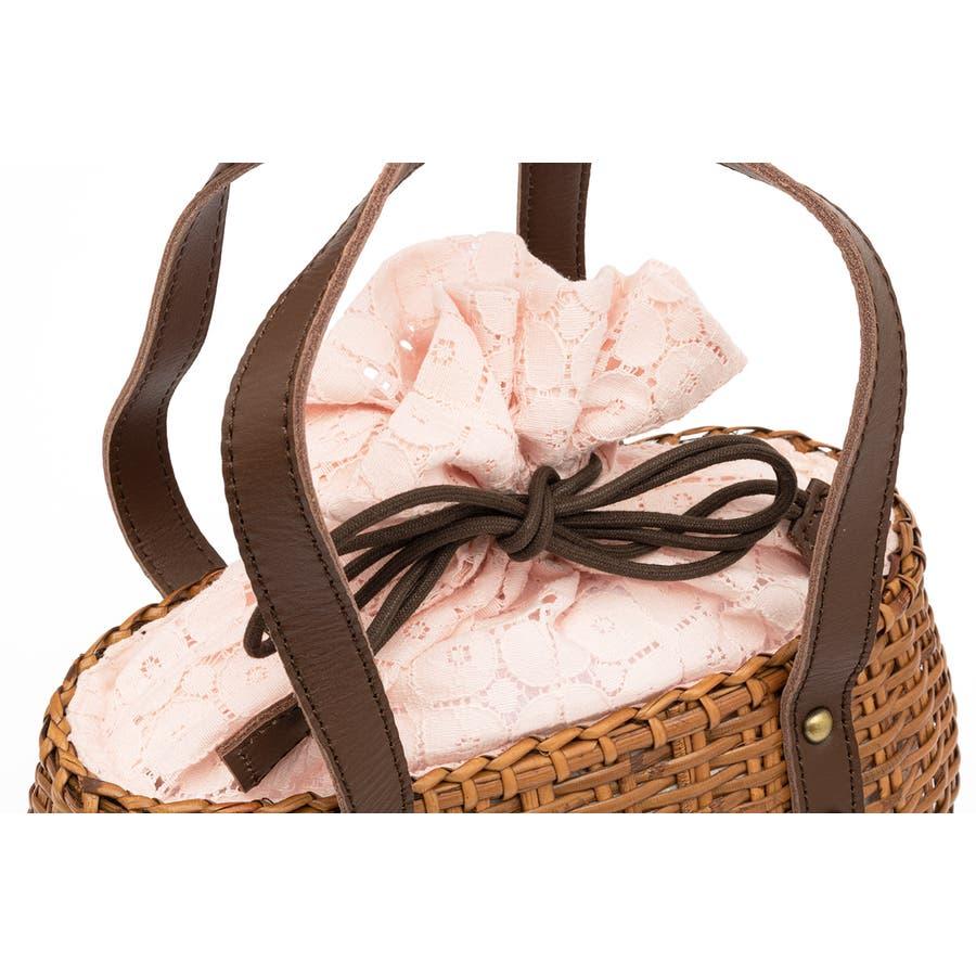かごバッグ 巾着 バッグ 浴衣 着物 和装 サマーバッグ レディース ラタン 籠 籐 夏 ナチュラル ピンク ブラウン 茶 レース麻混紡 和洋兼用 4
