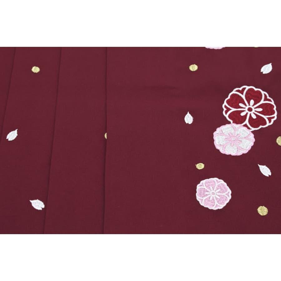 袴 単品 刺繍 小学生 ブランド 夢千代 濃赤 レッド 桜 花 はかま 十三詣り 卒業式 11歳 12歳 13歳 女の子 ジュニア 仕立て上がり 3