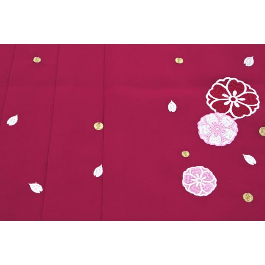 袴 単品 刺繍 小学生 ブランド 夢千代 赤紫 レッドパープル 桜 花 はかま 十三詣り 卒業式 11歳 12歳 13歳 女の子 ジュニア 仕立て上がり 3