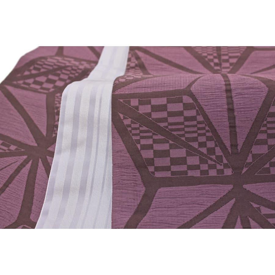 半幅帯 小紋用 紬用 浴衣用 紫 麻の葉文 しじ... 半幅帯 小紋用 紬用 浴衣用 紫 麻の葉