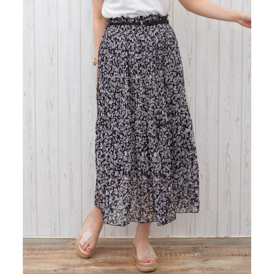 【WEB限定】ベルト付花柄消しプリーツスカート 21