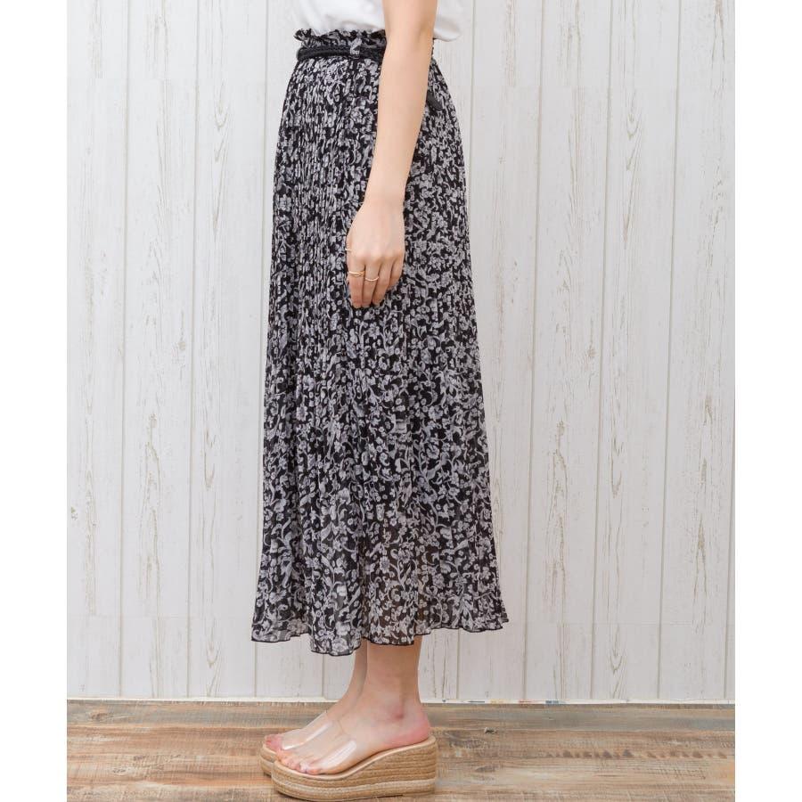 【WEB限定】ベルト付花柄消しプリーツスカート 2