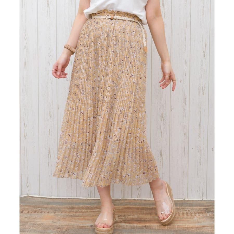 【WEB限定】ベルト付花柄消しプリーツスカート 83
