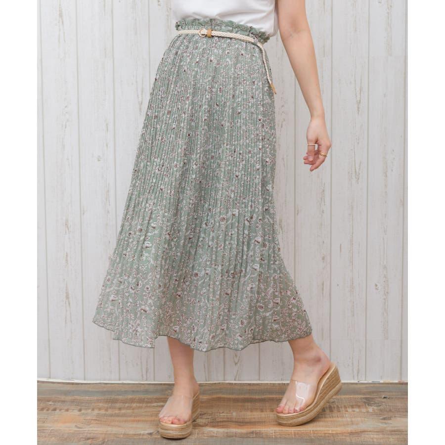 【WEB限定】ベルト付花柄消しプリーツスカート 47