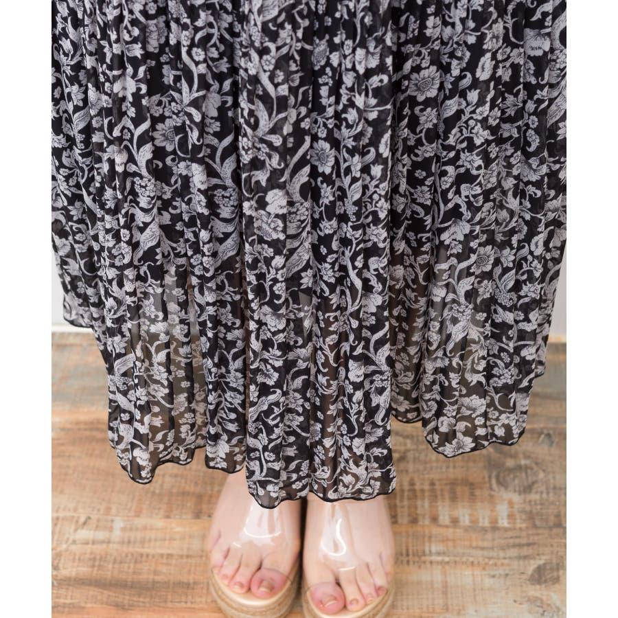 【WEB限定】ベルト付花柄消しプリーツスカート 6