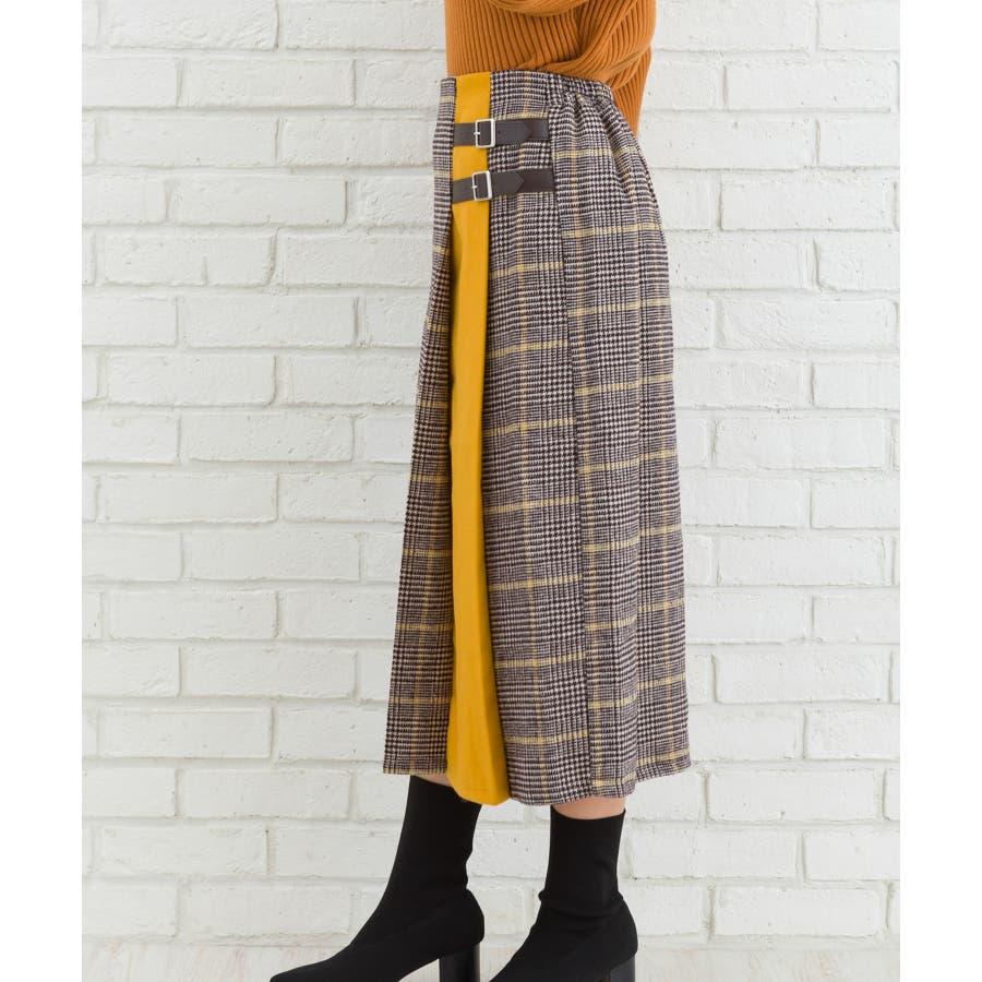 チェックバイカラーベルト付スカート 3