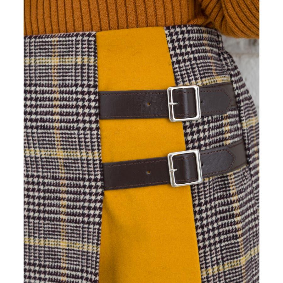 チェックバイカラーベルト付スカート 5