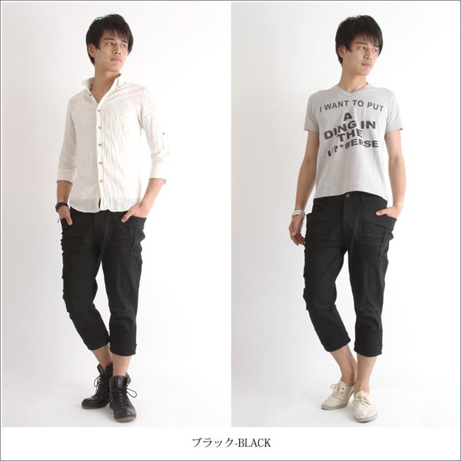 【デニム メンズ】黒×黒 ガーデニング クロップド ストレッチ デニム パンツ 男性 メンズ Audience オーディエンス 2