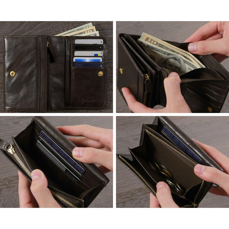 c32de1ff4647 二つ折り財布 財布】日本製 本革 クレタ レザー 二つ折り 財布 メンズ ...