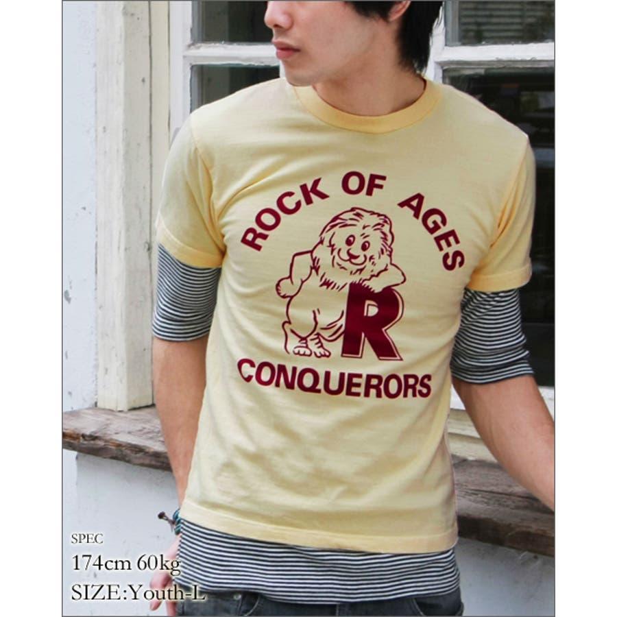 コーデに表情をプラスしてくれる vanillafudge ヴァニラファッジ 17 1天竺素材ライオンプリントユース半袖Tシャツ 劇症