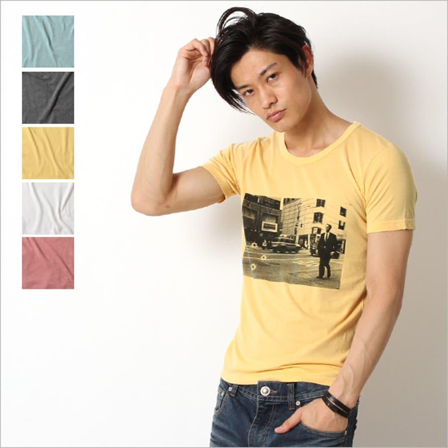 ヘビロテ間違いなし☆ Tシャツ メンズ WORKDAY ピグメント 加工 天竺 半袖 プリント カットソー 男性 メンズ VIBGYOR ビブジョー 後妻