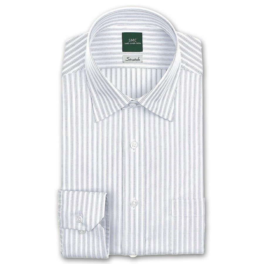 SHIRT MAKER CHOYA Stretch 長袖 ワイシャツ メンズ 春夏秋冬 形態安定加工 ストレッチ 標準体パープルとグレーのストライプ ショートレギュラーカラーシャツ|綿:65% ポリエステル:35% パープル(cmd930-460) 2