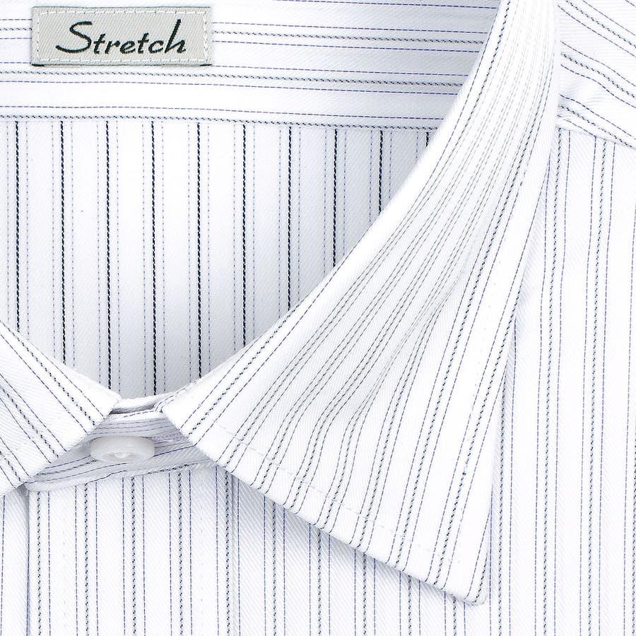 SHIRT MAKER CHOYA Stretch 長袖 ワイシャツ メンズ 春夏秋冬 形態安定加工 ストレッチ 標準体パープルとグレーのストライプ ショートレギュラーカラーシャツ|綿:65% ポリエステル:35% パープル(cmd930-460) 3