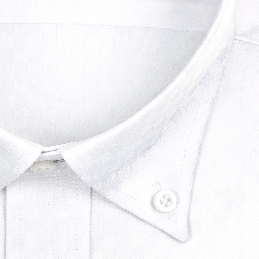 SHIRT MAKER CHOYA Stretch 長袖 ワイシャツ メンズ 春夏秋冬 形態安定加工 ストレッチ 標準体市松模様白ドビー ボタンダウンシャツ|綿:65% ポリエステル:35% ホワイト(cmd931-200) 3