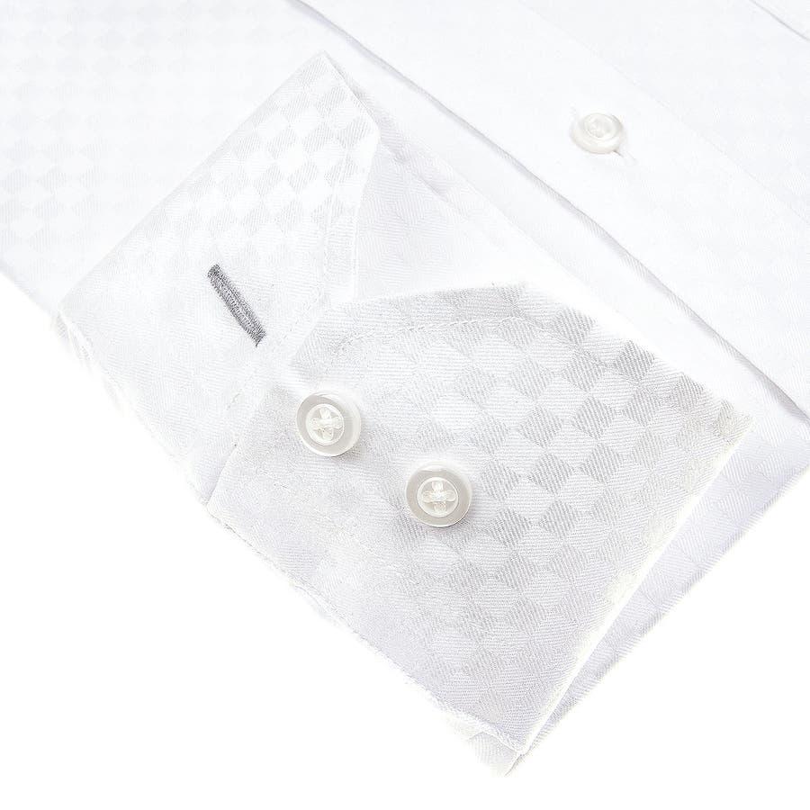 SHIRT MAKER CHOYA Stretch 長袖 ワイシャツ メンズ 春夏秋冬 形態安定加工 ストレッチ 標準体市松模様白ドビー ボタンダウンシャツ|綿:65% ポリエステル:35% ホワイト(cmd931-200) 5