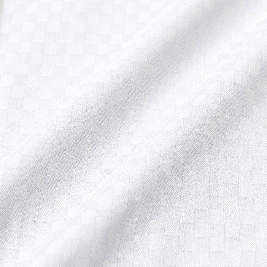 SHIRT MAKER CHOYA Stretch 長袖 ワイシャツ メンズ 春夏秋冬 形態安定加工 ストレッチ 標準体市松模様白ドビー ボタンダウンシャツ|綿:65% ポリエステル:35% ホワイト(cmd931-200) 7