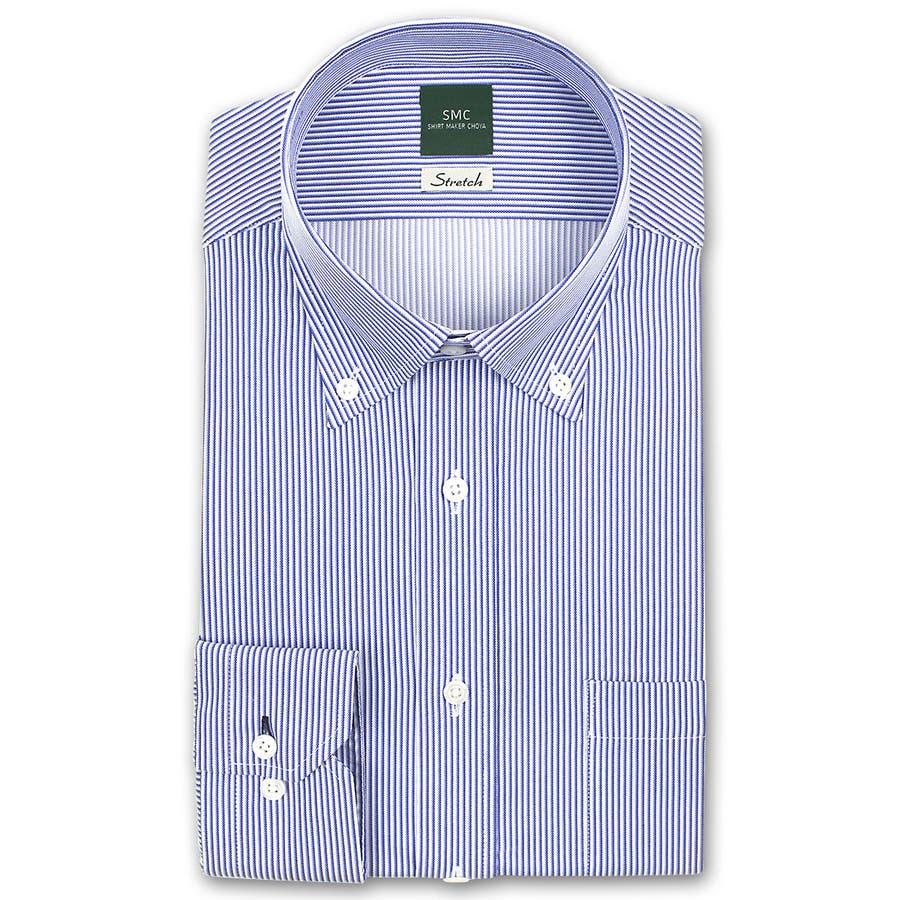SHIRT MAKER CHOYA Stretch 長袖 ワイシャツ メンズ 春夏秋冬 形態安定加工 ストレッチ 標準体ブルーストライプ ボタンダウンシャツ|綿:65% ポリエステル:35% ブルー(cmd931-450) 2