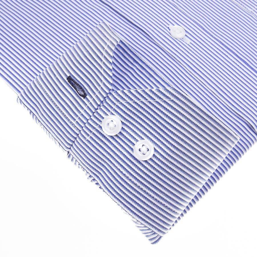 SHIRT MAKER CHOYA Stretch 長袖 ワイシャツ メンズ 春夏秋冬 形態安定加工 ストレッチ 標準体ブルーストライプ ボタンダウンシャツ|綿:65% ポリエステル:35% ブルー(cmd931-450) 5