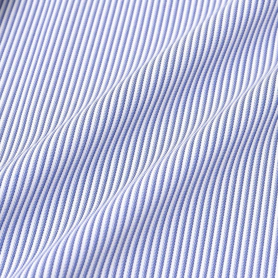 SHIRT MAKER CHOYA Stretch 長袖 ワイシャツ メンズ 春夏秋冬 形態安定加工 ストレッチ 標準体ブルーストライプ ボタンダウンシャツ|綿:65% ポリエステル:35% ブルー(cmd931-450) 7