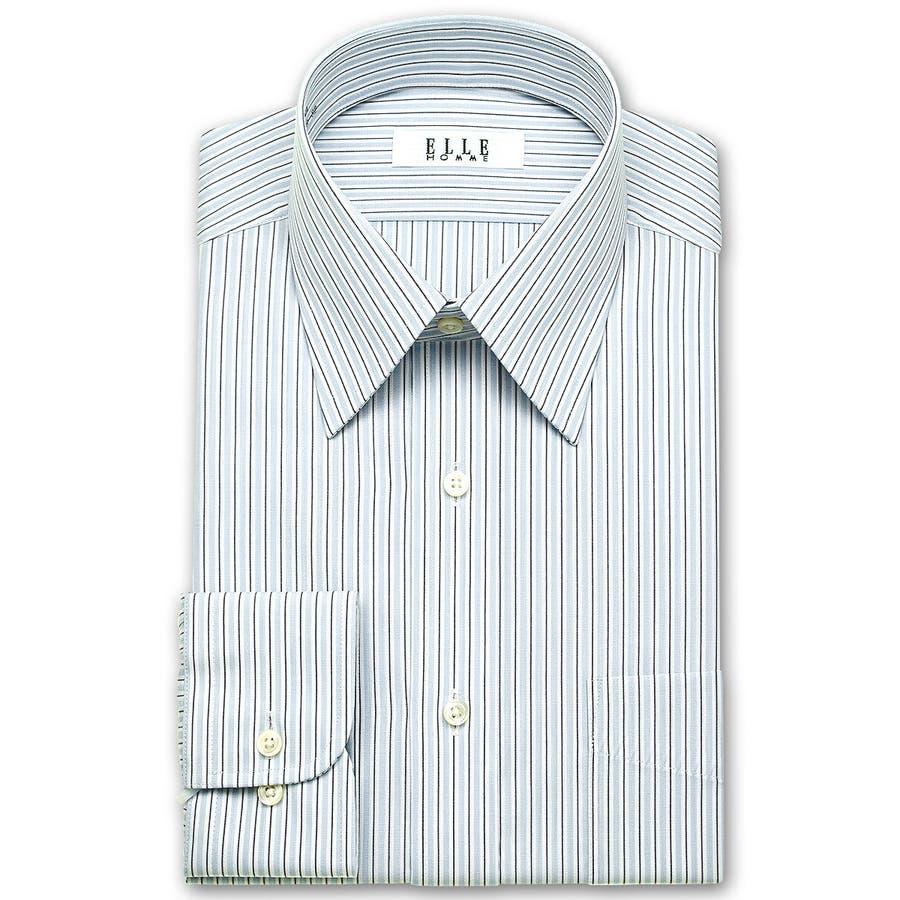 ELLE HOMME 長袖 ワイシャツ メンズ 春夏秋冬 形態安定 アイビーストライプ レギュラーカラーシャツ |綿ポリエステルブルー(zed860-450) 2