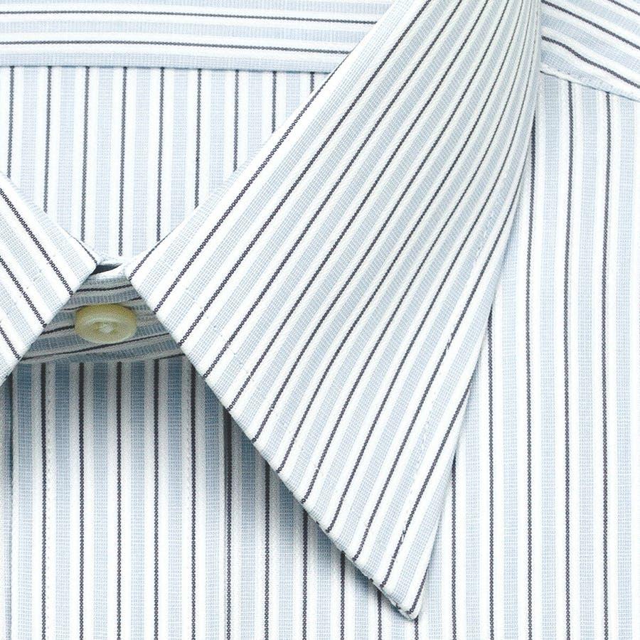 ELLE HOMME 長袖 ワイシャツ メンズ 春夏秋冬 形態安定 アイビーストライプ レギュラーカラーシャツ |綿ポリエステルブルー(zed860-450) 3