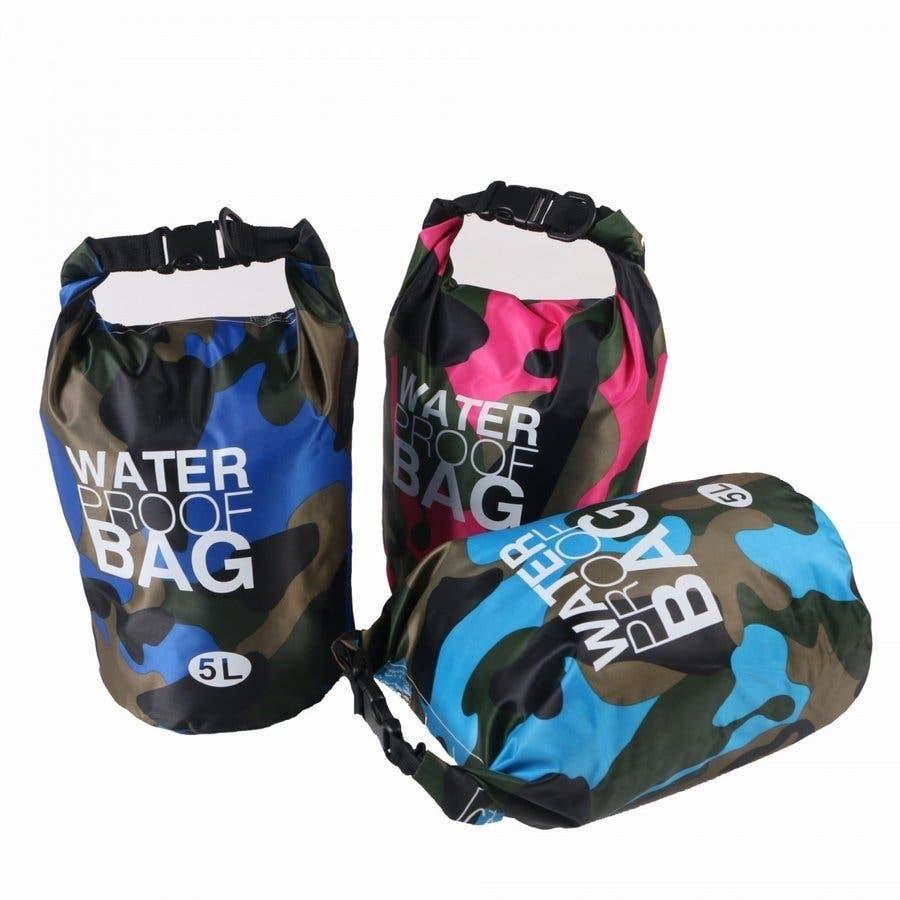 防水バッグ 迷彩柄 ドライバッグ 5L おしゃれ 多機能 防災バッグ ショルダー 肩掛け 海 川 海水浴 アウトドア プールジムバッグ 7