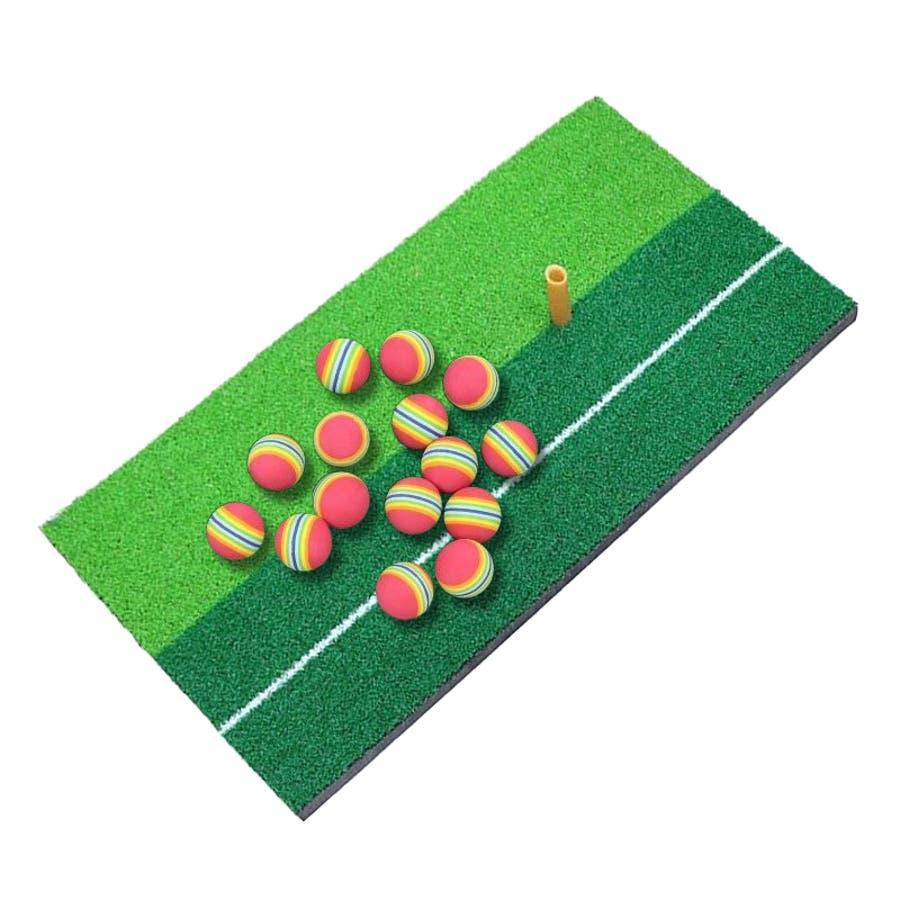 ゴルフ 練習用 セット ショットマット ティー ボール 15個 スイング マット 大型 ライン付き 素振り 練習マット ゴルフ用品パター 極厚 ダフり ドライバー アイアン ウェッジ 小物 6